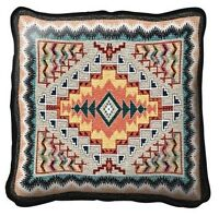 Southwest Indian Pattern Southwestern Teal Tapestry Throw Pillow 17x17