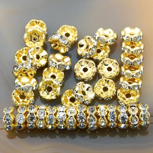 100PCS Checa Cristal Estrás Ondulado Rondelle espaciador perlas 4mm 5mm 6mm 8mm 10mm