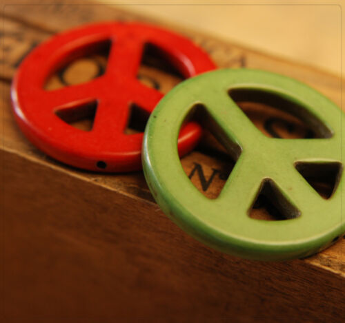 1 Strang Türkis Howlith Perlen Peace Zeichen Schmuck DIY Basteln Farbmix 35mm