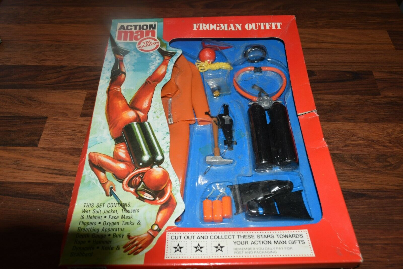 Vintage palitoy action man frogman outfit mint ex shop stock boxed carded