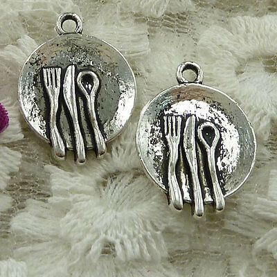 free ship 60 pieces Antique silver service plate charms 20x15mm #2365