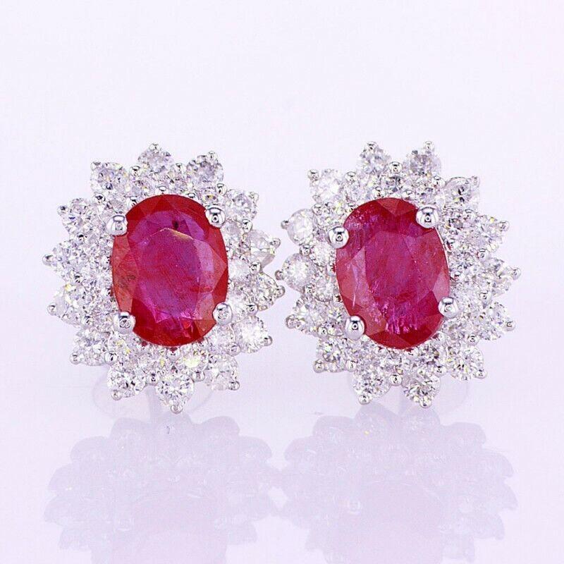96cfe3eb5f4b2 18K SI F Earrings Diamond Ruby CT 4.00 White and gold sfnf18b02907 ...