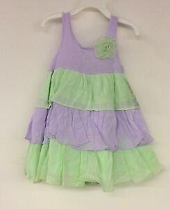 Marmellata-Little-Girls-Dress-Gauze-Tiered-Sorbet-Shades-Flower-Lilac-Size-3T