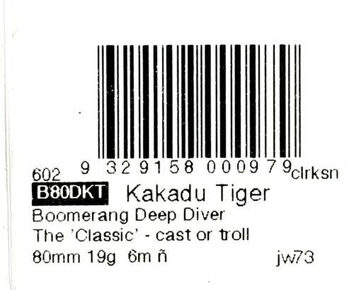 KAKADU TIGER CAST OR TROLL DEEP DIVER 19g FISHING LURE PREDATEK BOOMERANG 80mm