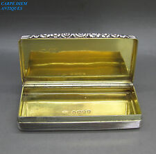 ANTIQUE GEORGIAN LARGE SOLID STERLING SILVER SNUFF BOX, W.E, 80g LONDON 1827