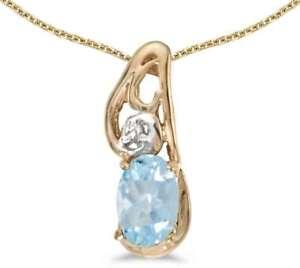10k-Yellow-Gold-Oval-Aquamarine-amp-Diamond-Pendant-Chain-NOT-included-P2590-03