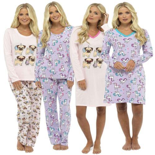 Ladies Long Sleeved Print V Neck Nightie Nightshirt Sleepwear Pugs Unicorns