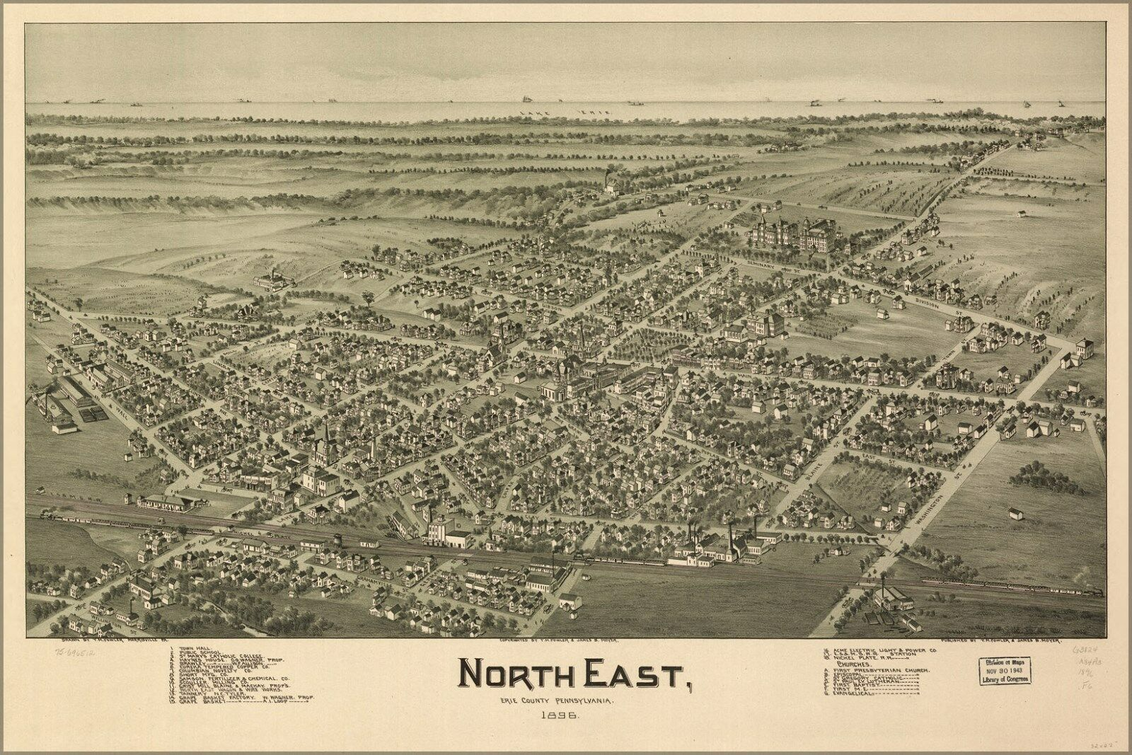 Poster, Many Größes; Map Of North East, Erie County, Pennsylvania 1896