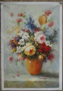 """24x36"""" Art oil painting on canvas still life Impressionism flower hand-painted"""