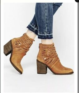 Free People Women/'s Carrera Leather Rear Zip Ankle Boot Retail $198 size 6