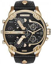 Diesel DZ7371 Mr Daddy 2.0 Herrenuhr XL Gold Chronograph Schwarz Leder Armbanduh