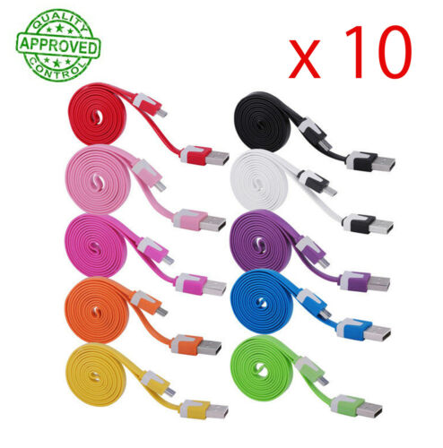 10 x 1M Samsung Mirco USB Data Sync Charger Flat Cable