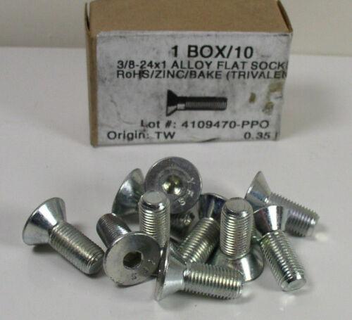 10X 3//8-24 x 1 Alloy Flat Head Socket Cap Screw Zinc Finish Box of 10