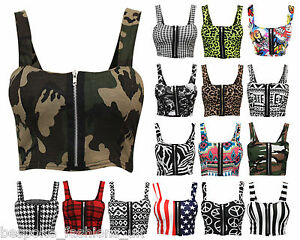 Womens-Zip-Front-Animal-Stripe-USA-Peace-Printed-Ladies-Bra-let-Top-8-14