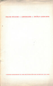 Franz-Staude-Abendlied-Zwoelf-Gedichte-Blaetter-Dichtung-Hamburg-Nr-4-Juli-1935