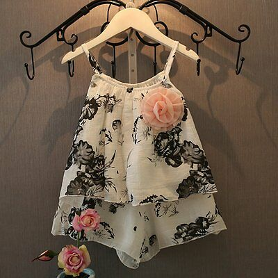 2pcs Summer Baby Kids Girls Outfits Floral Vest Tops + Shorts Pants Clothes Sets
