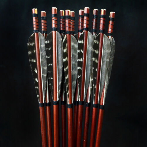 """/""""Wolf/""""12x  Wooden Arrows for Longbow Recurve bow Archery"""