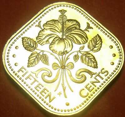 Coins: World 1978 Rare Proof~6,931 Minted~triangle Coin~free Shipping Top Watermelons Bahamas 15 Cents
