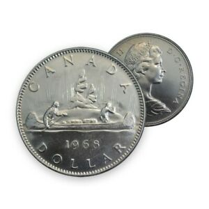 UNCIRCULATED-1968-Canada-1-One-Dollar-Canadian-Coin-Voyageur-Queen-Elizabeth-II