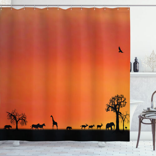 """Details about  /Animal Shower Curtain Safari Sunset with Gull for Bathroom 84/"""" Extralong"""