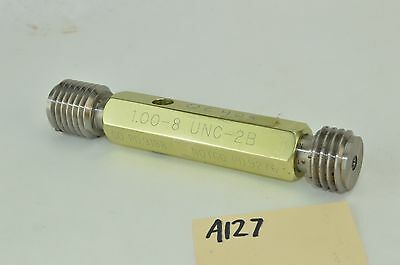 "NEW 1/"" 8 UNC 2B THREAD PLUG GAGE 1.00 GO NO GO P.D./'S = .9188 /& .9276 INSPECTION"