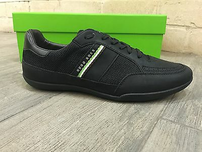 HUGO BOSS Mens Shoes Sneakers Trainers Black CITY TEX by BOSS Green - New In Box