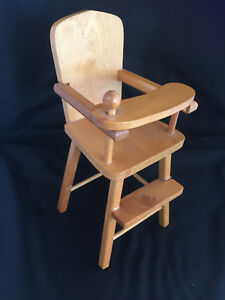 Vintage Or Antique Doll Natural Wood High Chair Tray Swings Forward