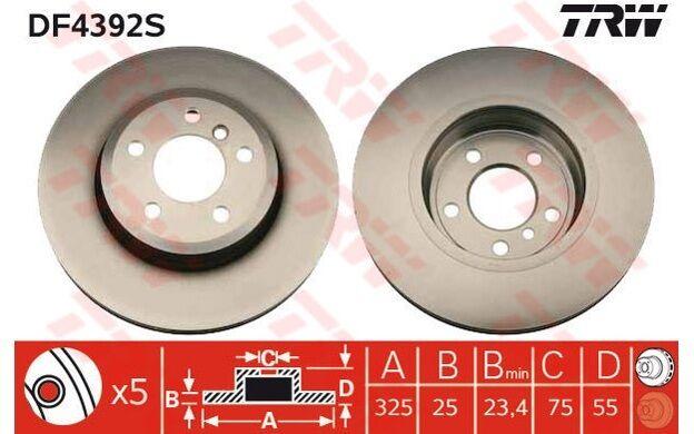 TRW Disco de freno (x2) Antes 325mm ventilado BMW X3 DF4392S