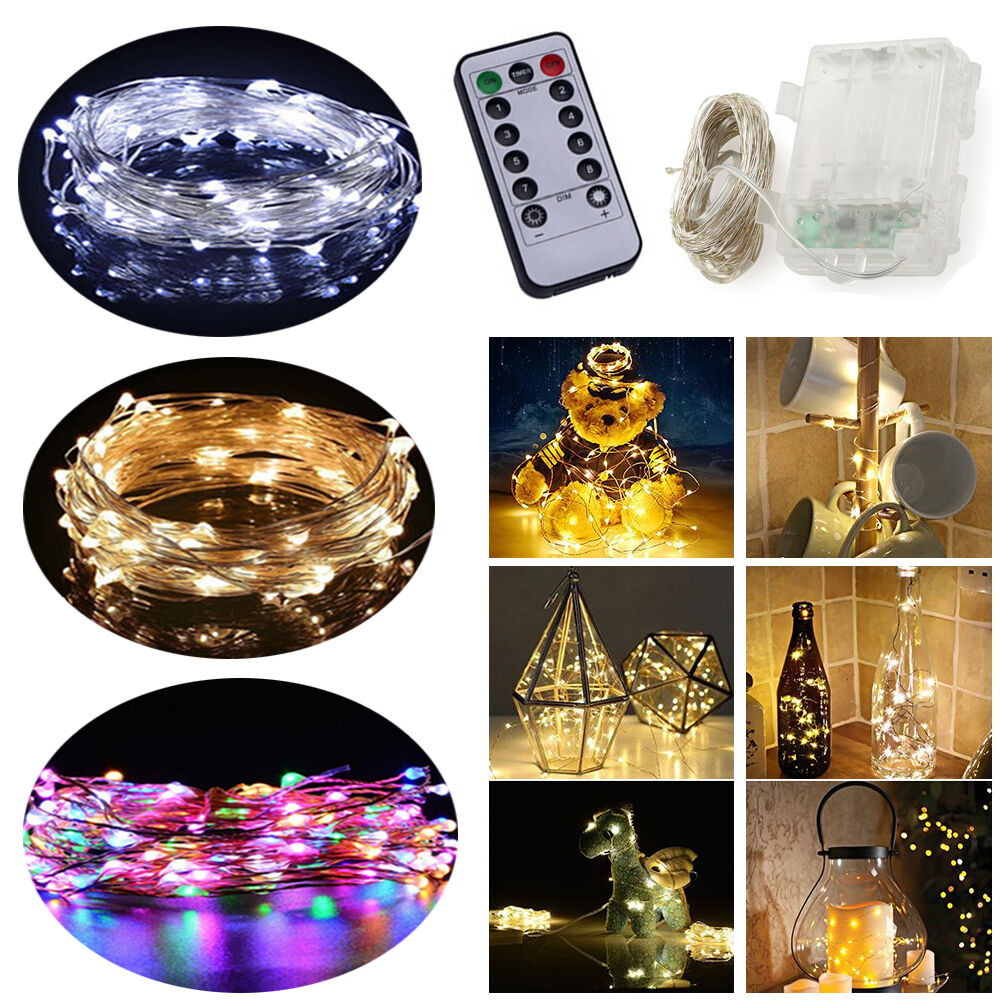 Battery Solar Plug Silver Copper Wire 20 400 Led Xmas String Fairy Wiring A Gold And Light Lamp