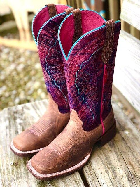 Ariat Mujer circuito Shiloh cepillo de pintura pintura pintura rosadodo y marrón cuadrada Toe botas 10025051  mejor marca