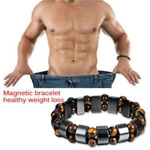 Black-Magnetic-Bracelet-Hematite-Stone-Therpy-Health-Care-Weight-Loss-Jewelr-AB