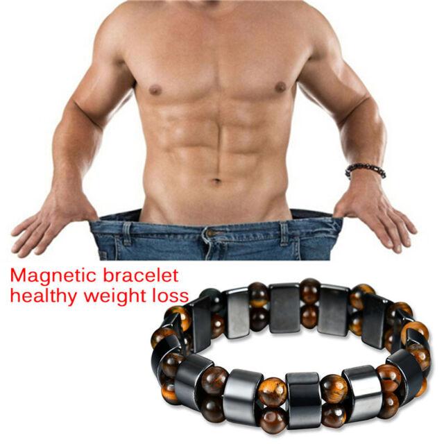 Black Magnetic Bracelet Hematite Stone Therpy Health Care Weight Loss Jewelr XJ