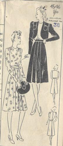 """R502 1940s Vintage Sewing Pattern B38/"""" Vestido Falda-Bolero-Top"""