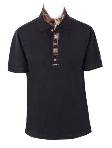 Trachtenshirt T-Shirt Herren Shirt Polo-Shirt Kurzarm Baumwolle Schwarz Braun