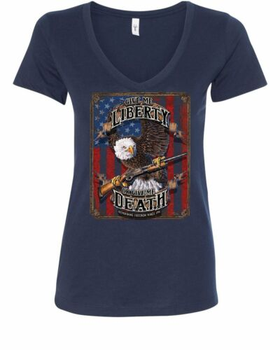 Give Me Liberty or Give Me Death Women/'s V-Neck T-Shirt Eagle Defend Freedom 2A