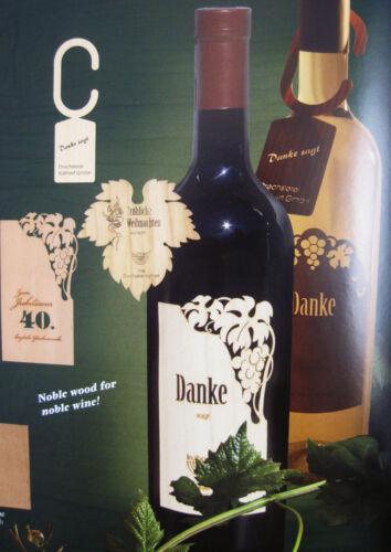DANKE Flaschenetikett selbstklebend mehrsprachig Echtholzfurnier