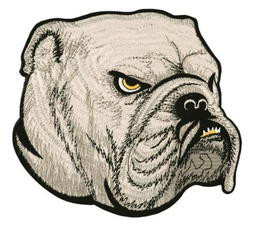#54 Bulldogge Kopf Hund Backpatch Biker Boxer Rückenaufnäher Aufnäher 22 x 20 cm