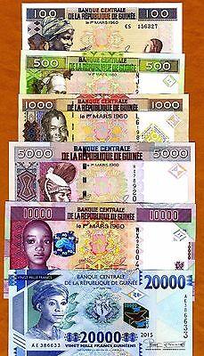 Guinea SET 100;500;1000;5000;10000;20000 Francs 2006-2015, UNC
