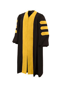 American Doctoral Gown Black with forest green velvet + Gold Piping