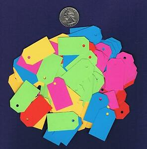 100-Small-Blank-Hang-Tags-Bright-Neon-Gift-Handmade-Price-Cardstock-Paper
