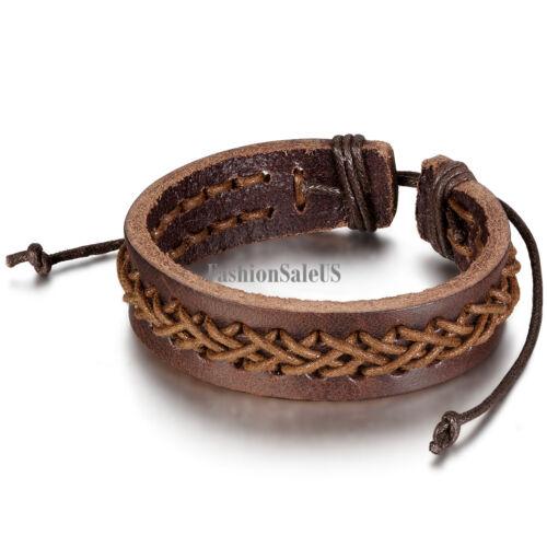 Homme en cuir Rope bracelet croix tressés longueur réglable bracelet