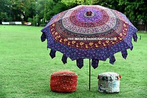 Indian Beautiful Garden Parasol Violet Mandala Cotton Sunshade