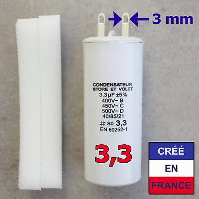 Condensateur De 3.3 Uf (µf) Pour Moteur Somfy Ou Simu De Volet Roulant Ou Store Garantire Un Aspetto Simile Al Nuovo In Modo Indefinibile