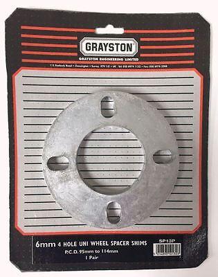 Grayston Pair 6mm Universal PCD 4 Hole Wheel Spacer Shim (SP13P)