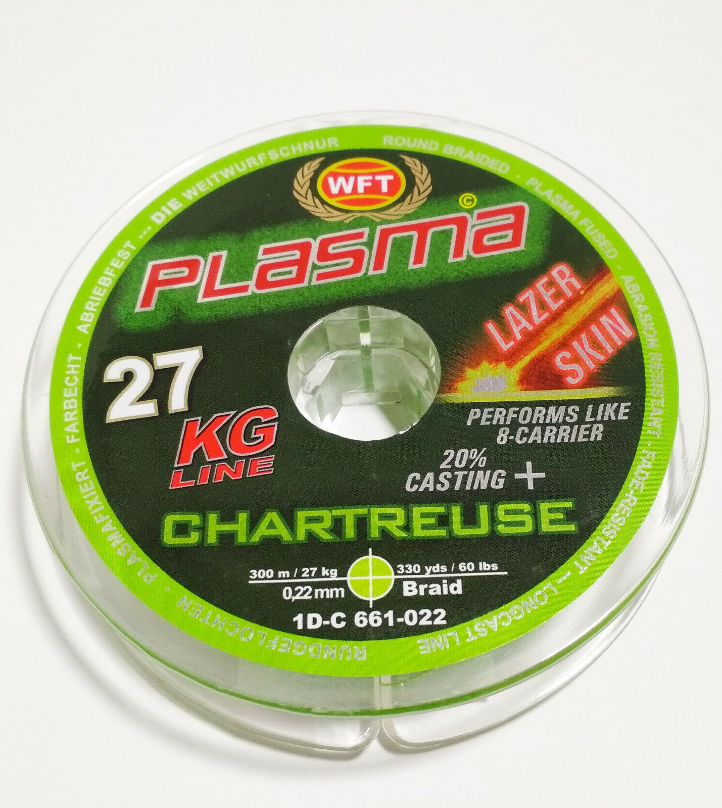 WFT Plasma 27KG Line Lazer Skin color Chartreuse 0.22mm 300meters