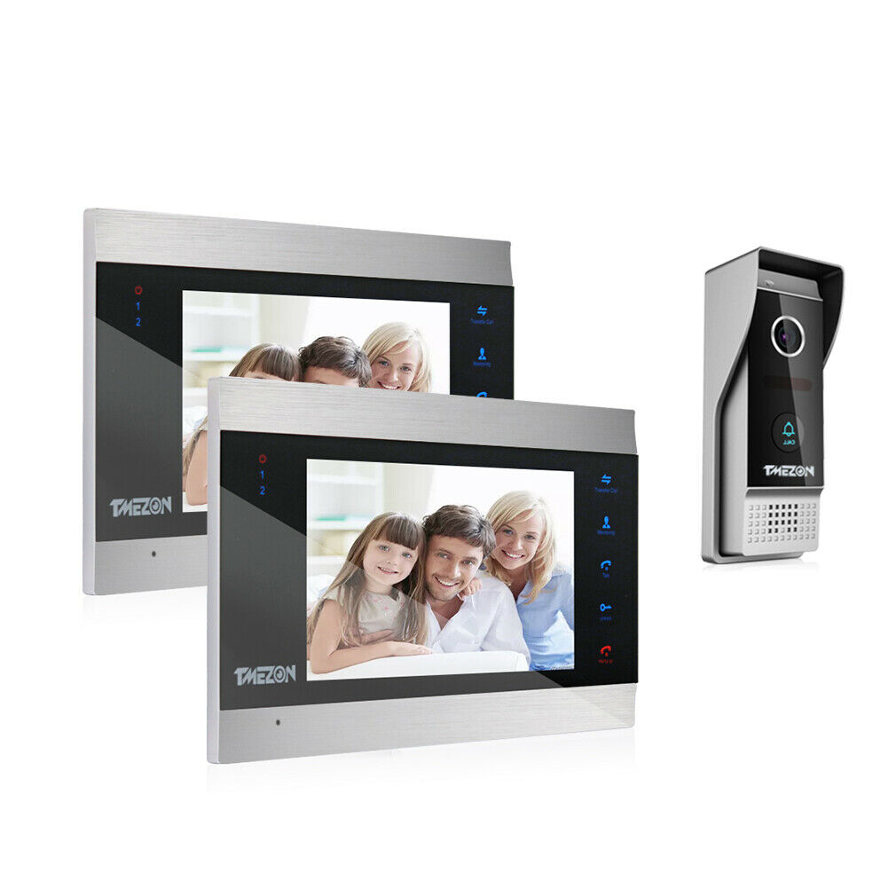 TMEZON Video Türklingel Intercom System Türsprechanlage mit 7  2-Monitor 1Kamera