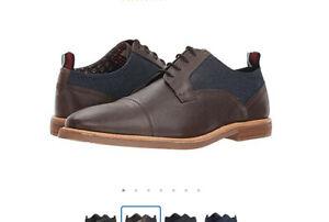 Ben-Sherman-Birk-Cap-Toe-Brown-Leather-amp-Denim-Oxford-Men-039-s-Size-9-5
