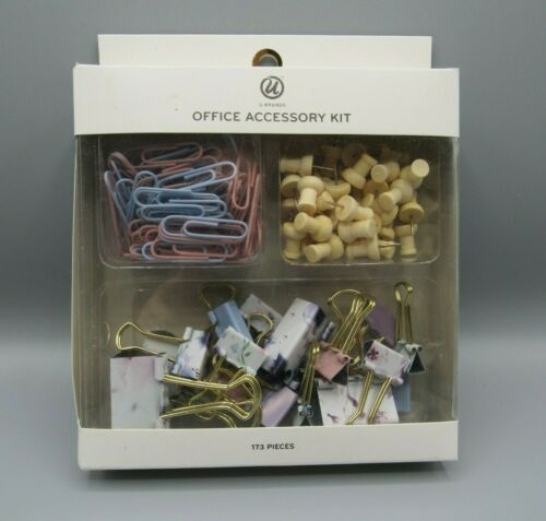 Paper Clips /& Push Pins U Brands Office 173 Piece Accessory Kit Binder Clips