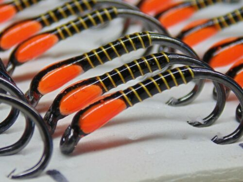 black and hot orange UV painted cheeks size 8  fly fishing buzzers killer flies