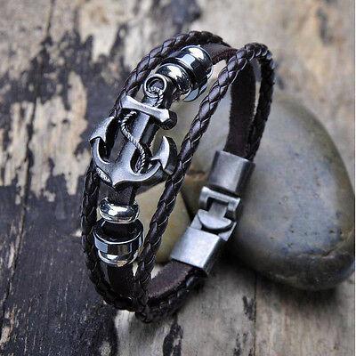 Vintage Men's Metal Anchor Steel Studded Surfer Leather Bangle Cuff Bracelet